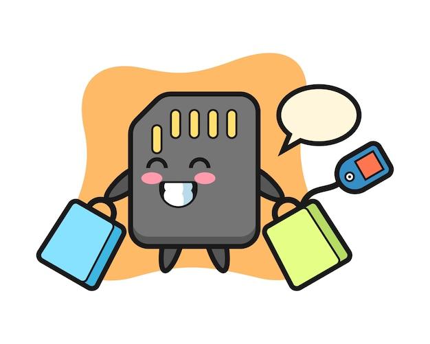 Fumetto della mascotte della scheda sd che tiene un sacchetto della spesa, design in stile carino per t-shirt