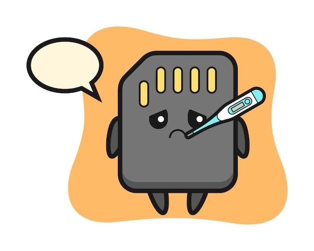 Personaggio mascotte della scheda sd con condizione di febbre, design in stile carino per maglietta