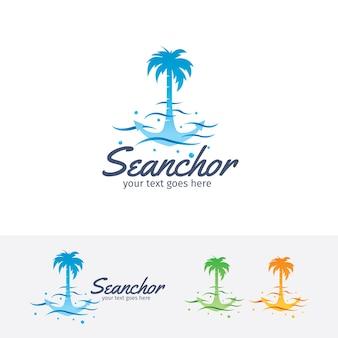 Modello di logo vettoriale di ancoraggio marino
