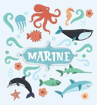 Illustrazione vettoriale di animali marini e icone di pesce