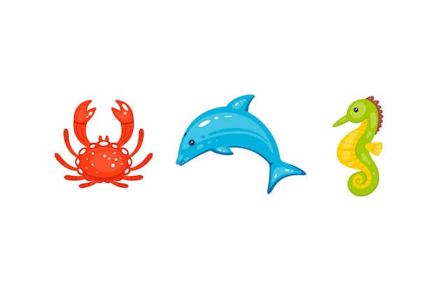 Animali marini impostati in cartone animato disegnato a mano. la vita marina e le creature sottomarine contengono granchi, delfini, cavallucci marini.