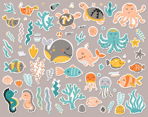 Collezione di adesivi di animali marini.