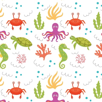 Sea baby pattern polpo tartaruga granchio cavalluccio marino alga