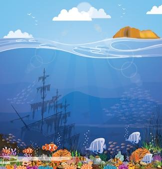 Fondo del mare con scogliere viola sulla sabbia e sull'isola.