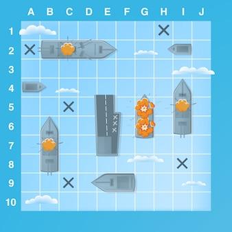 Elementi di gioco di battaglia navale con effetti. illustrazione di cartone animato