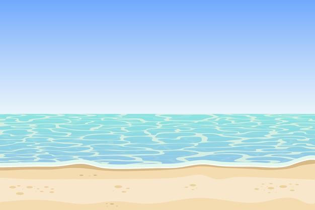 Sfondo di mare e spiaggia Vettore Premium