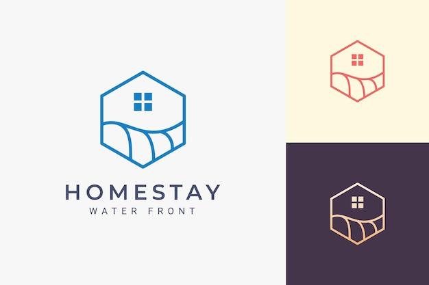Logo dell'hotel a tema mare o spiaggia in linea semplice e forma esagonale