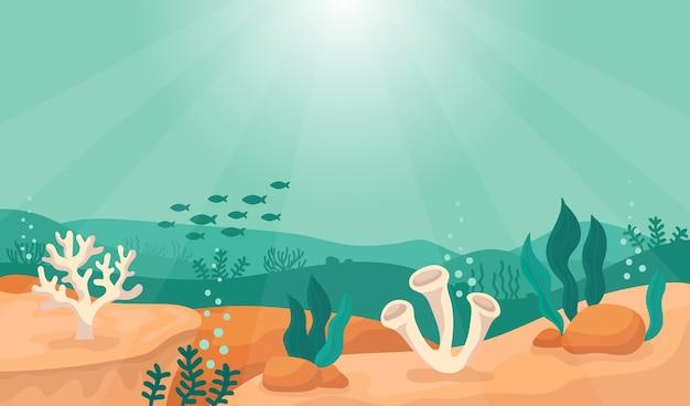 Mondo sottomarino di fondo del mare sullo sfondo sole
