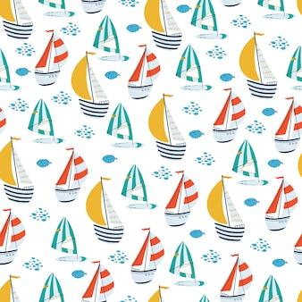 Modello senza cuciture dei bambini di mare con barca a vela, windsurf in stile cartone animato.
