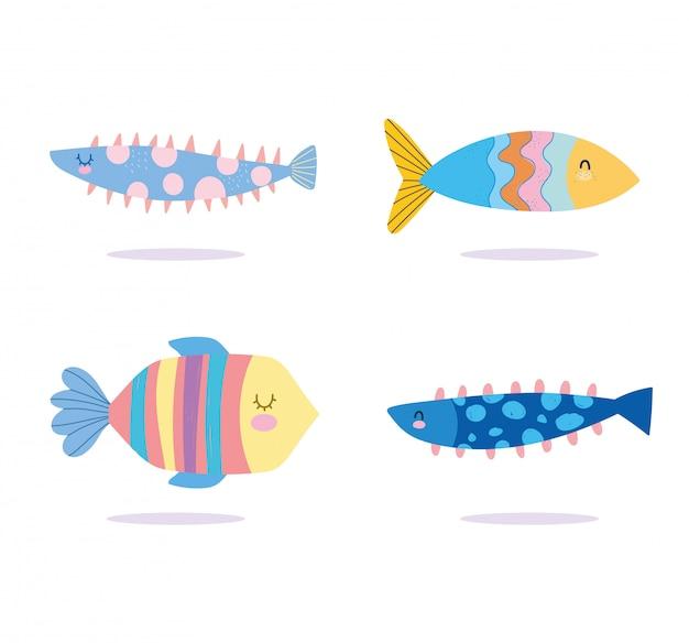 Sotto il mare, pesci colorati, cartone animato di paesaggio di vita marina