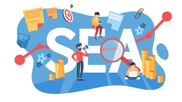 Concetto di mare. idea di pubblicità sui motori di ricerca per il sito web come strategia di marketing. promozione di pagine web in internet e seo. illustrazione