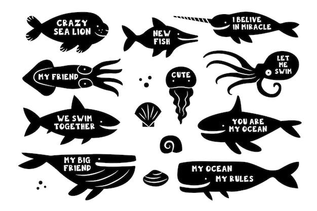 Creature del mare animali pesci squalo balena tricheco narvalo meduse polpo balena killer delfino calamari sagome nere con scritte disegno del modello di tagliere
