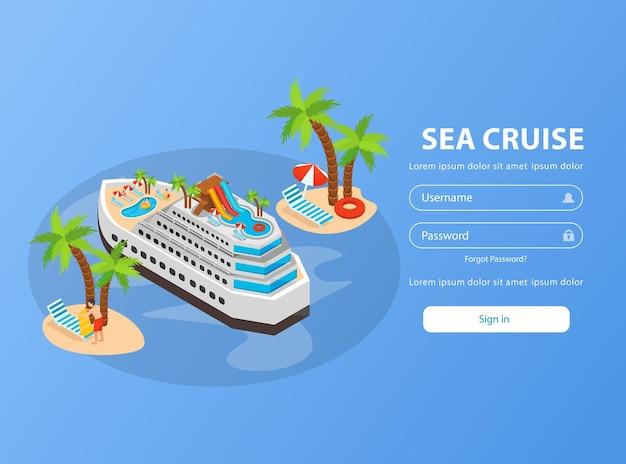 Pagina di prenotazione isometrica della crociera in mare