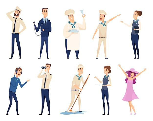 Crociera in mare. capitano di navigazione ufficiale di navigazione che naviga con i personaggi della squadra di viaggio sull'oceano. illustrazione equipaggio crociera, marinaio e nostromo