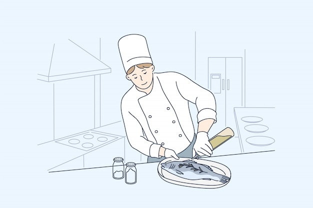 Mare, cucina, cucina, concetto di pesce