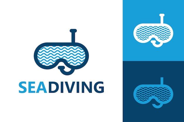 Vettore premium del modello di logo di immersioni in mare