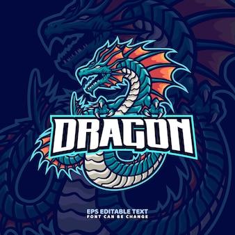 Modello di logo della mascotte del drago di mare