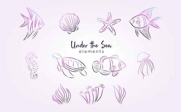 Sotto gli elementi del mare con disegni al tratto e colore sfumato
