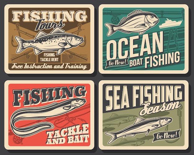 Barca da pesca in mare, pesce e attrezzatura da pescatore