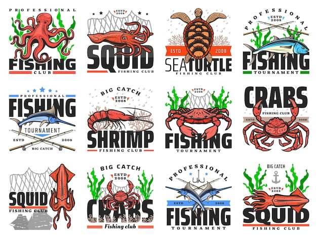 Emblemi di vettore di pesca in mare per club di pesca, torneo di cattura professionale. attrezzatura da pesca per la cattura di granchi di mare, aragoste oceaniche e calamari, tonno, gamberi e gamberi con set di icone isolate di polpo