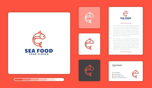 Modello di progettazione di logo di frutti di mare
