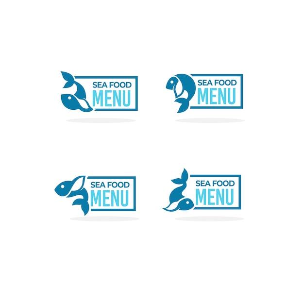 Frutti di mare mrnu, logo, etichetta, tag, con immagine un po' di pesce semplice e composizione scritta