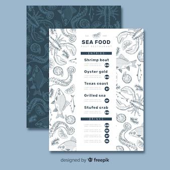 Modello di menu del ristorante di frutti di mare