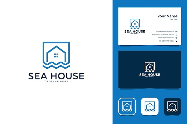 Design moderno del logo della casa di mare e biglietto da visita