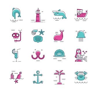 Set di icone del mare