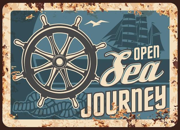 Viaggio in mare crociera piastra metallica arrugginito viaggio nave oceano