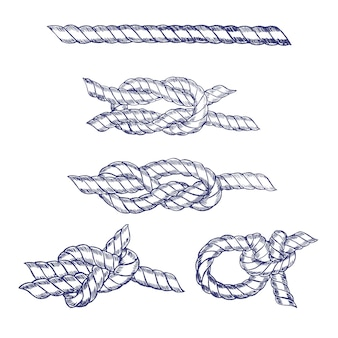 Sea knot blue twisted rope hand draw sketch