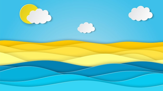 Paesaggio marino con spiaggia, onde, nuvole,