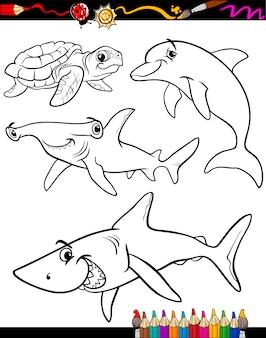 Libro da colorare di animali di vita di mare dei cartoni animati