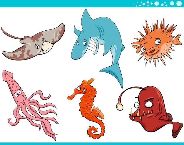 Insieme del fumetto degli animali di vita di mare