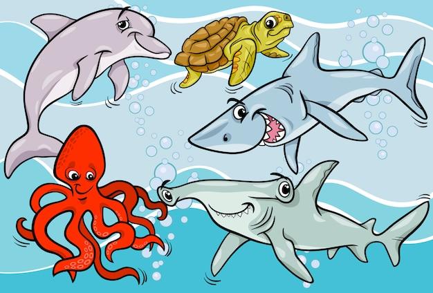 Fumetto di animali e pesci di vita marina
