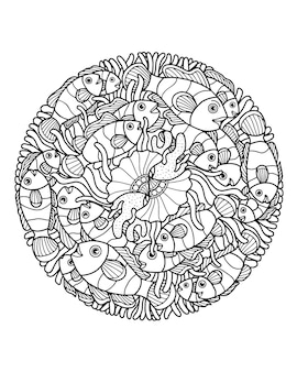 Sea life pagina da colorare illustrazione e print design