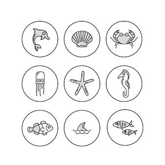Collezione di icone di vita marina