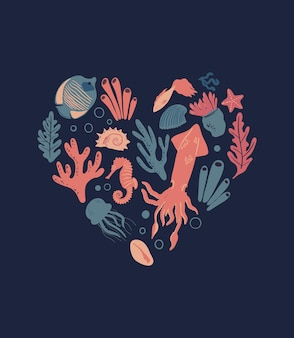 Poster di vita marina a forma di cuore con pesci tropicali meduse calamari coralli alghe e conchiglie