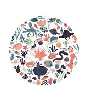 Poster di vita marina a forma rotonda con pesci tropicali calamari coralli alghe mola granchio e conchiglie