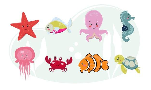 Vita marina, animali marini ambientati in uno stile piatto