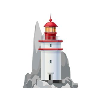 Icona del faro marino della torre di sicurezza della navigazione nautica. faro oceanico isolato isolated