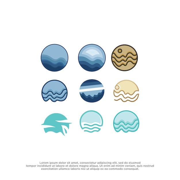 Modello di disegno vettoriale logo mare