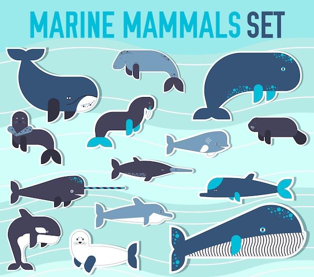 Set di icone di raccolta animali mammiferi marini