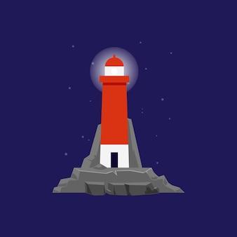 Faro marino del mare o torre rossa del faro con lanterna accesa o proiettore, cartone animato piatto