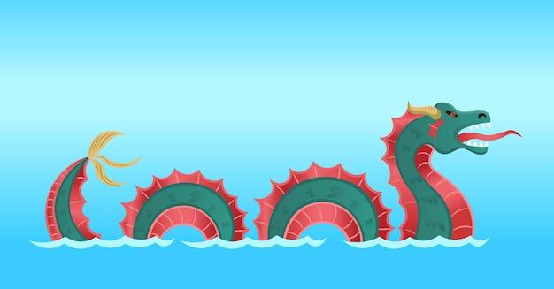Drago mostro marino. stile cartone animato.