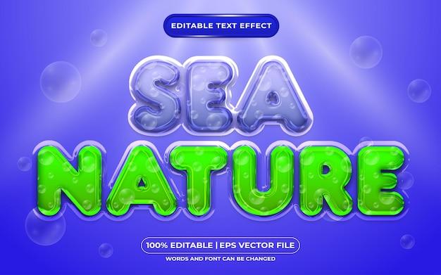 Stile liquido effetto testo modificabile della natura del mare