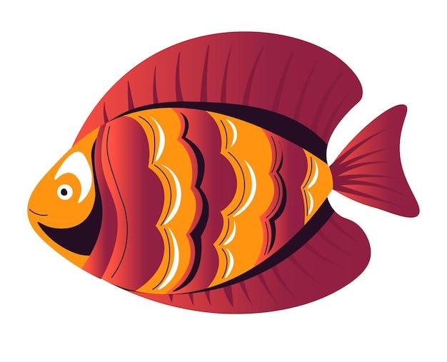 Creatura del mare o dell'oceano che nuota in acqua, icona isolata di pesci tropicali per acquario. ecosistema e fauna selvatica, dimora sott'acqua in acqua salata. animale acquatico con macchie colorate. vettore in piatto