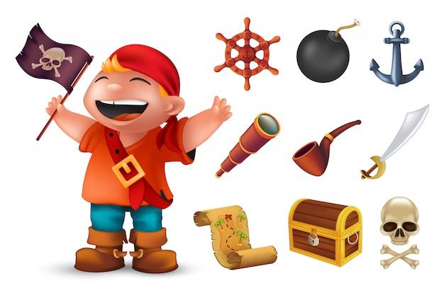 Icona del pirata del mare impostata con personaggio ragazzo felice, teschio umano, sciabola, ancora, volante, cannocchiale, bomba, pipa, bandiera jolly roger nera, cassa e mappa del tesoro. illustrazione isolata su bianco