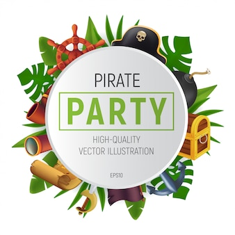Cornice rotonda festa pirata del mare con foglie tropicali, sciabola, ancora, volante, cannocchiale, bomba nera, pipa, antica cassa, bandiera e mappa del tesoro.
