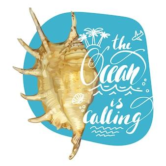 Scritte con citazione del mare con conchiglia realistica per il design di t-shirt e borse da spiaggia